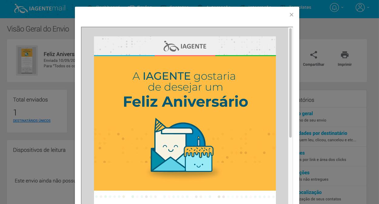 Envio automático de SMS de aniversário no IAGENTEsms
