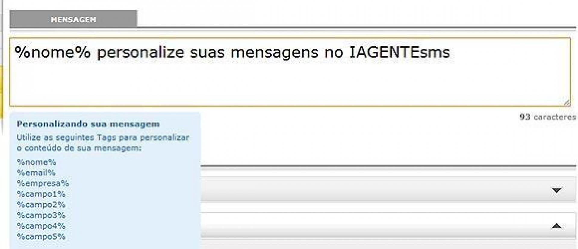 Personalize suas mensagens de SMS no IAGENTEsms