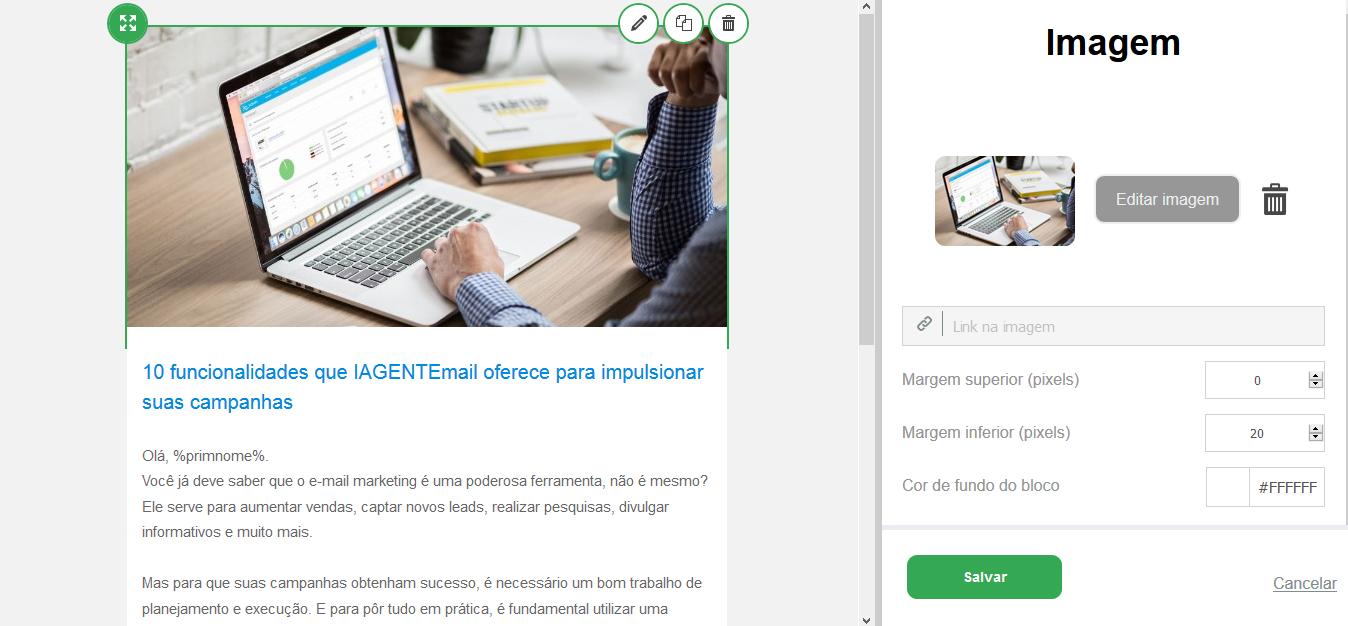 Editor de Email Drag and Drop - IAGENTE